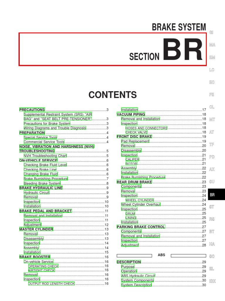 2000 Nissan Xterra Brakes - Service Manual | Airbag | Anti Lock Braking  System