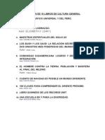 Relación de 10 libros de Cultura General