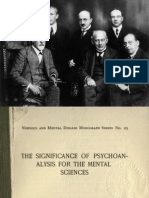 1916 Rank the Significance of Psychoanalysis for the Mental Sciences