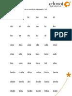 Ejercicio Lectura Silabas y Logotomas - b d