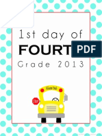 First Day of School Printable - Fourth