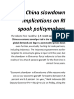 China slowdown implications on RI spook policymakers