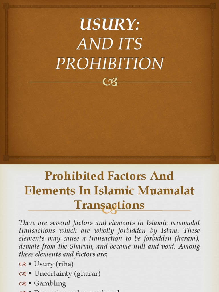 prohibition of usury in shariah | usury | loans