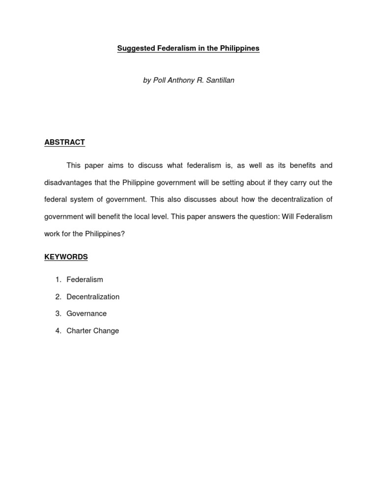 Suggested Federalism In The Philippines  Federalism  Government  Suggested Federalism In The Philippines  Federalism  Government  Information
