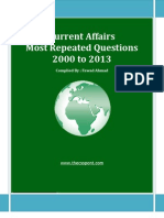 Most Repeated Question Current Affairs - 2000 to 2013