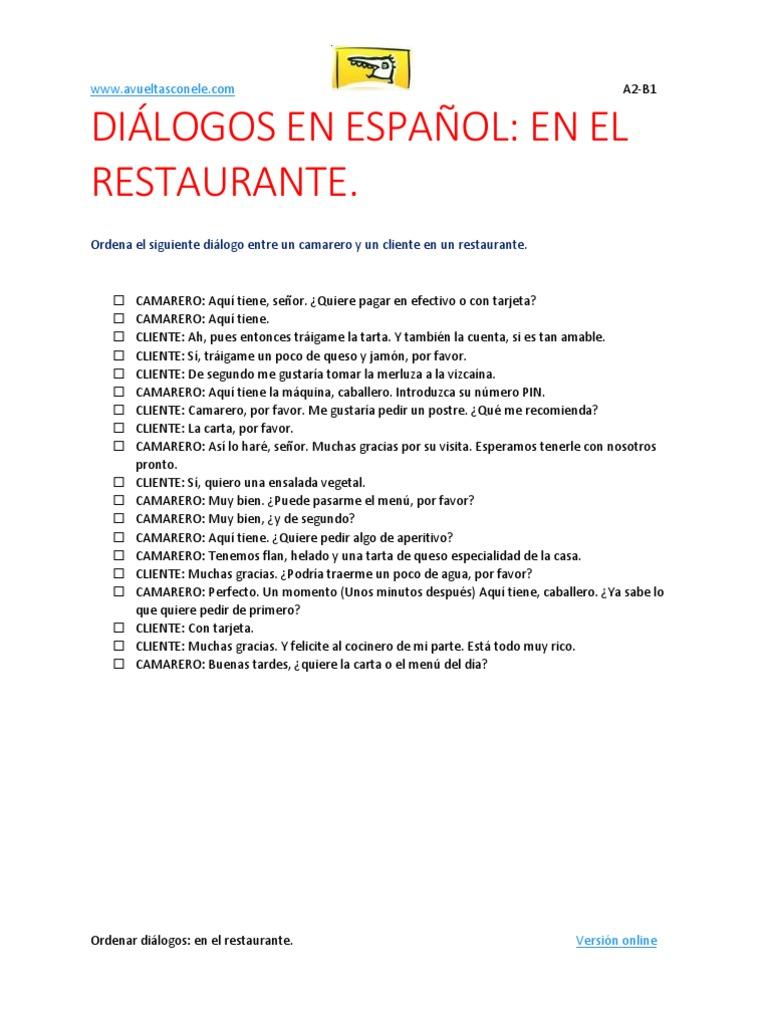 Dialogos en español: en el restaurante