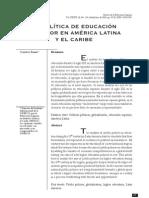 La politica de educación superior en América Latina y el Caribe