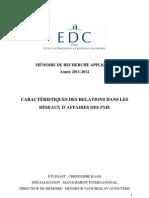Caractéristiques relationelles dans un réseau d'affaires de PME