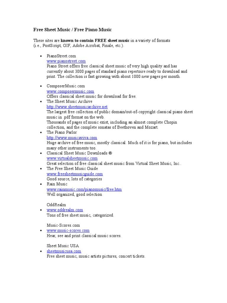 Free Sheet Music Websites