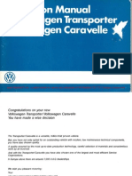 July 1985 VW T25 Instruction Manual WestfaliaT3WM