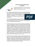 Comunicado (29/7/2013) de la Red Nacional de Defensoras de DDHH en Honduras ante al asesinato de la jueza Mireya Mendoza y la situación de hostigamiento y persecución que viven las compañeras Defensoras