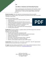 VAC Admissions Assistant Description Docx