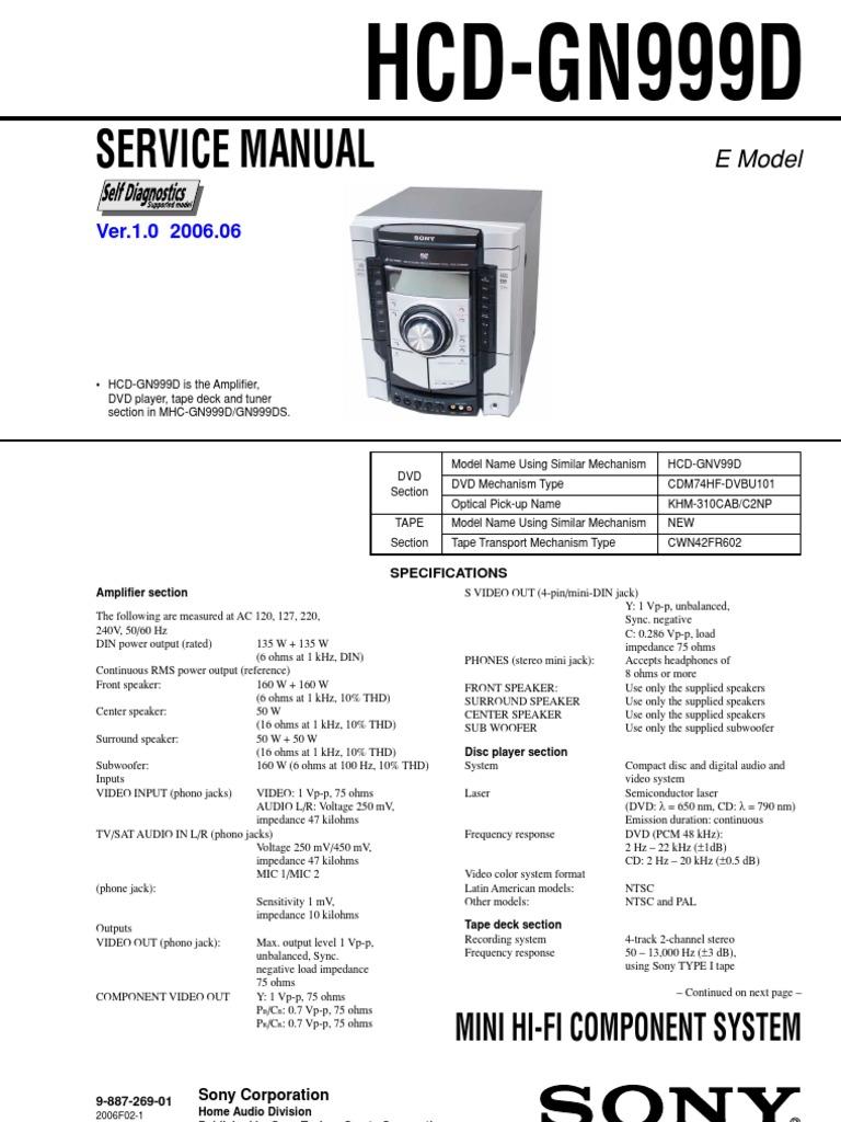 Sony Hcd Gn999d Mhc Gn999d Gn999ds Ver 1 0 Sm Dvd Compact Cassette