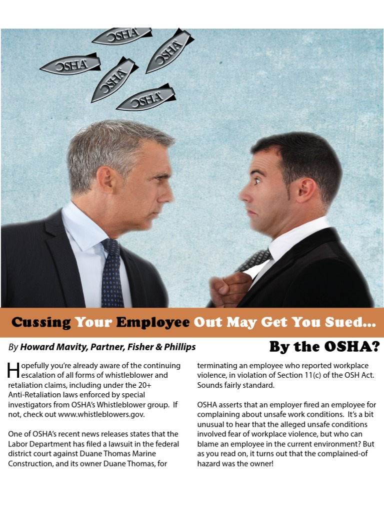 Cussing Your Employee Out May Get You Sued...by the OSHA ...