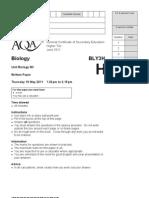 B3 SSJune 2011 GCSE AQA Biology Further Paper