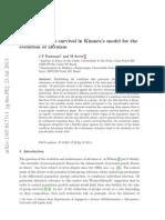 Jose F. Fontanari, Maurizio Serva - Nonlinear Group Survival in Kimura's Model for the Evolution of Altruism (ArXiv, July 2013, 24th)
