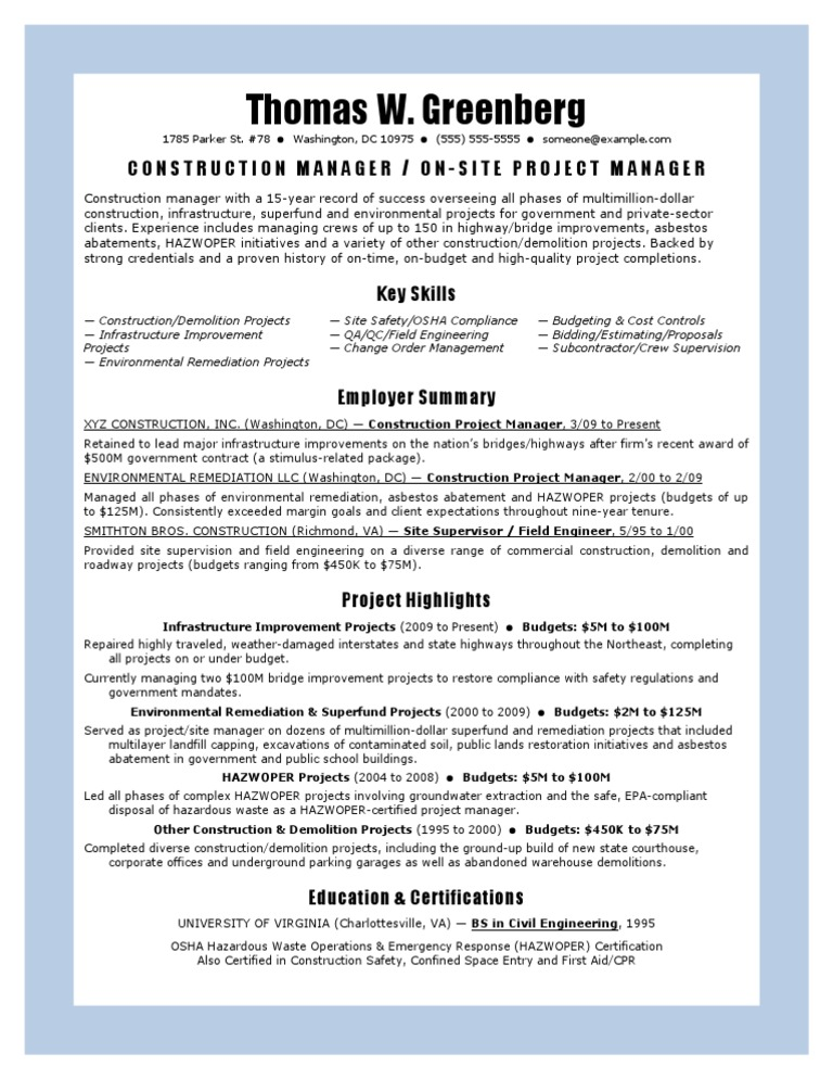 construction manager resume template  construction
