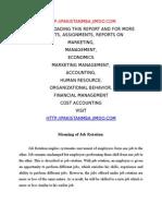 Report on Job Rotation