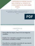 ETAPAS Y CONTENIDOS ESENCIALES DE LA TESIS JURÍDICA