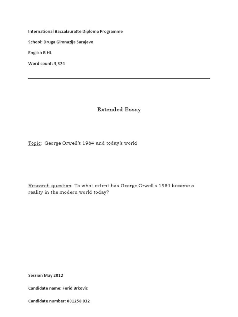 english b extended essay  george orwell  surveillance
