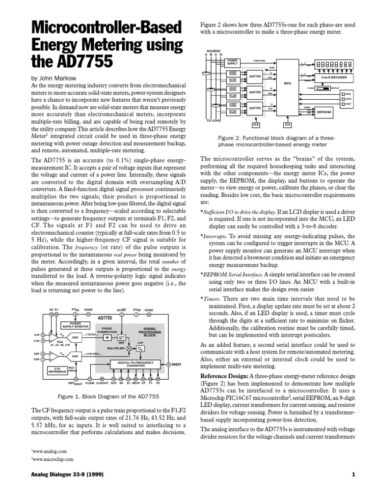 microcontroller based energy metering using the ad7755 microcontroller based energy metering using the ad7755 microcontroller