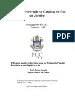 O regime jurídico-constitucional do referendo popular brasileiro e sua especificação
