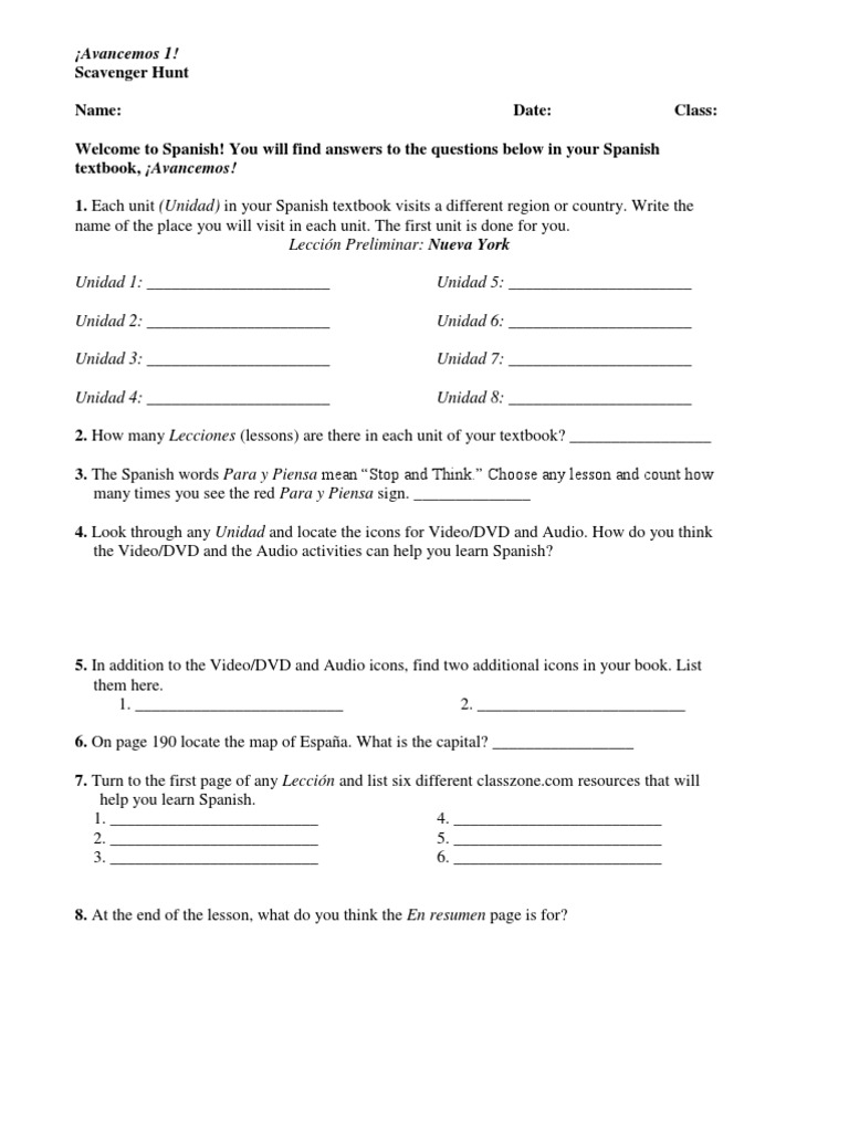 Avancemos 2 Unit Resource Book Leccion Preliminar Answers ...