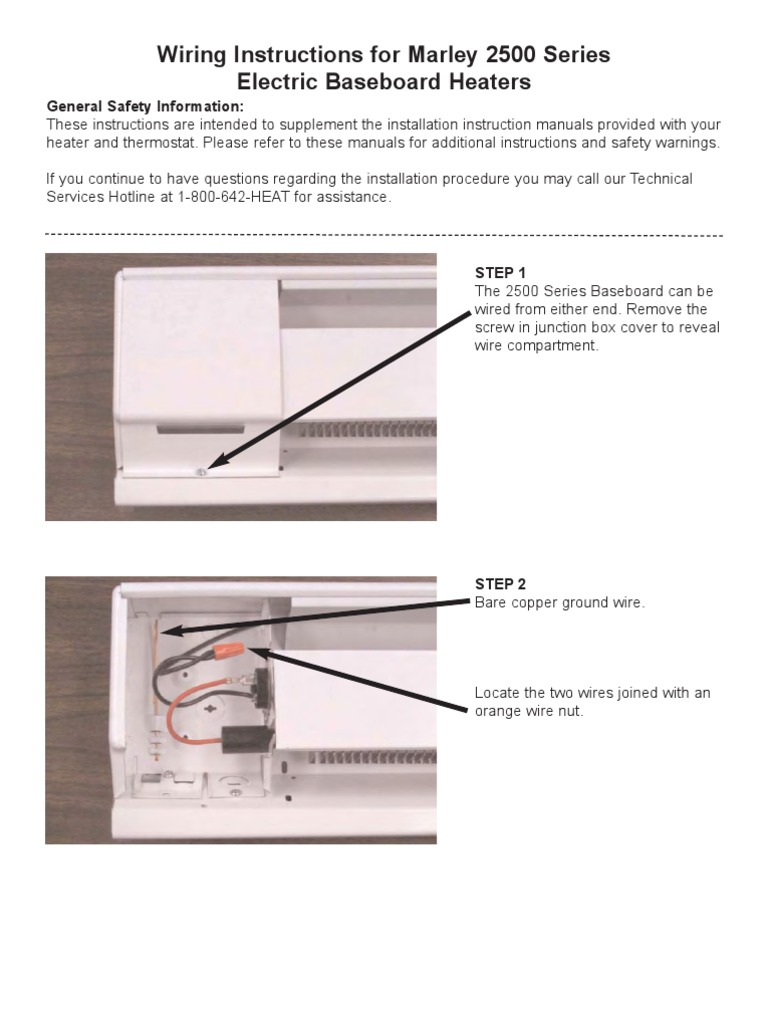 wiring instructions for marley 2500 series electric baseboard rh scribd com baseboard heater wiring diagram 240v baseboard heater wiring diagram 240v
