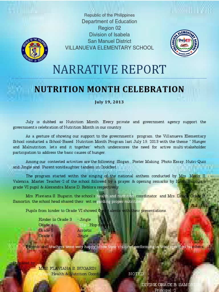 narrative report on nutrition month