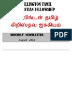 Wellington Tamil Christian Fellowship News Letter - August 2013