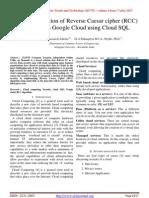 An Implementation of Reverse Caesar cipher (RCC) Algorithm in Google Cloud using Cloud SQL