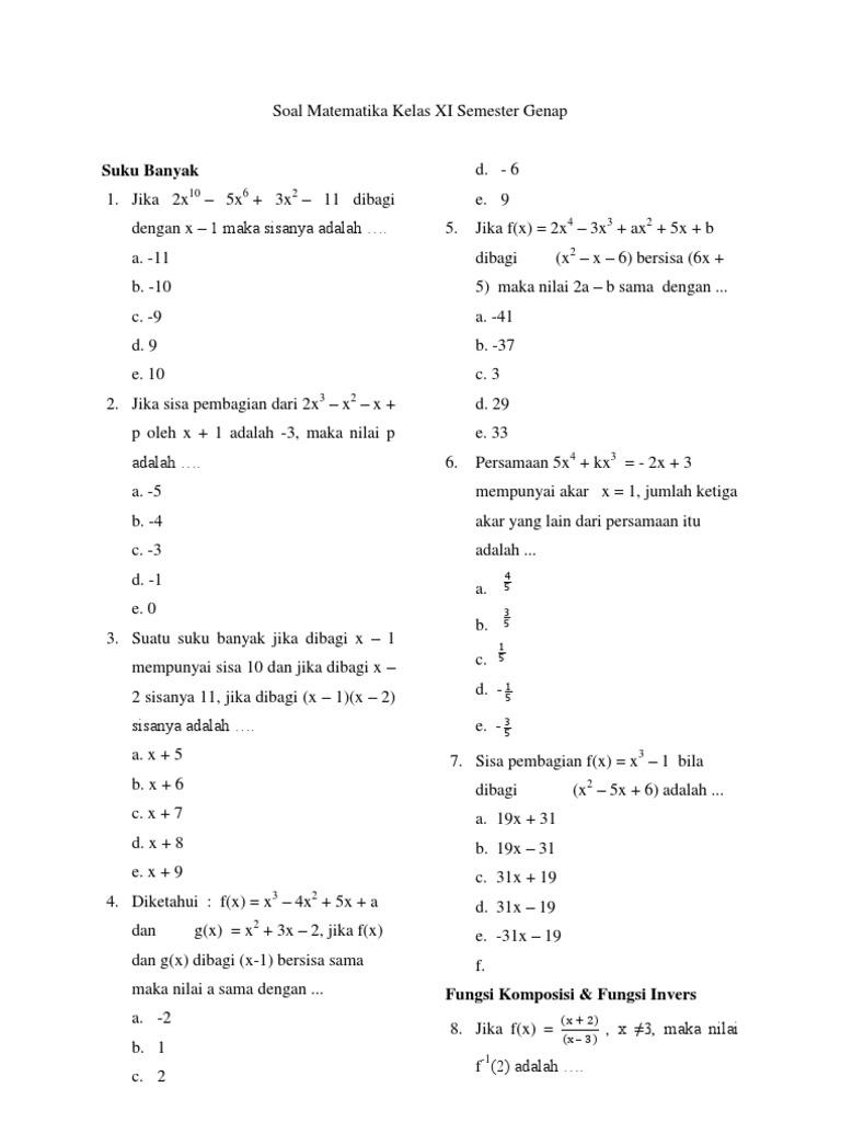 Soal Matematika Kelas 11 Semester 2 Dan Jawabannya Guru Galeri
