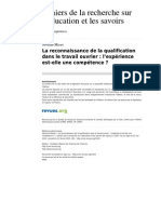 Cres 1019 6 La Reconnaissance de La Qualification Dans Le Travail Ouvrier l Experience Est Elle Une Competence