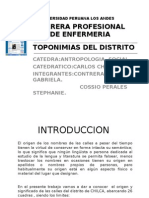 Toponimias Del Distrito de Chilca