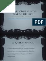 RESOLUCIÓN 1016 DE MARZO DE 1989