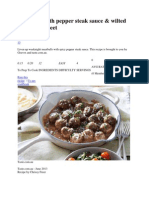 Meatballs With Pepper Steak Sauce and Dessert recipe