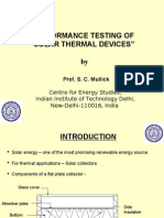 Testing of Solar Thermal Devices