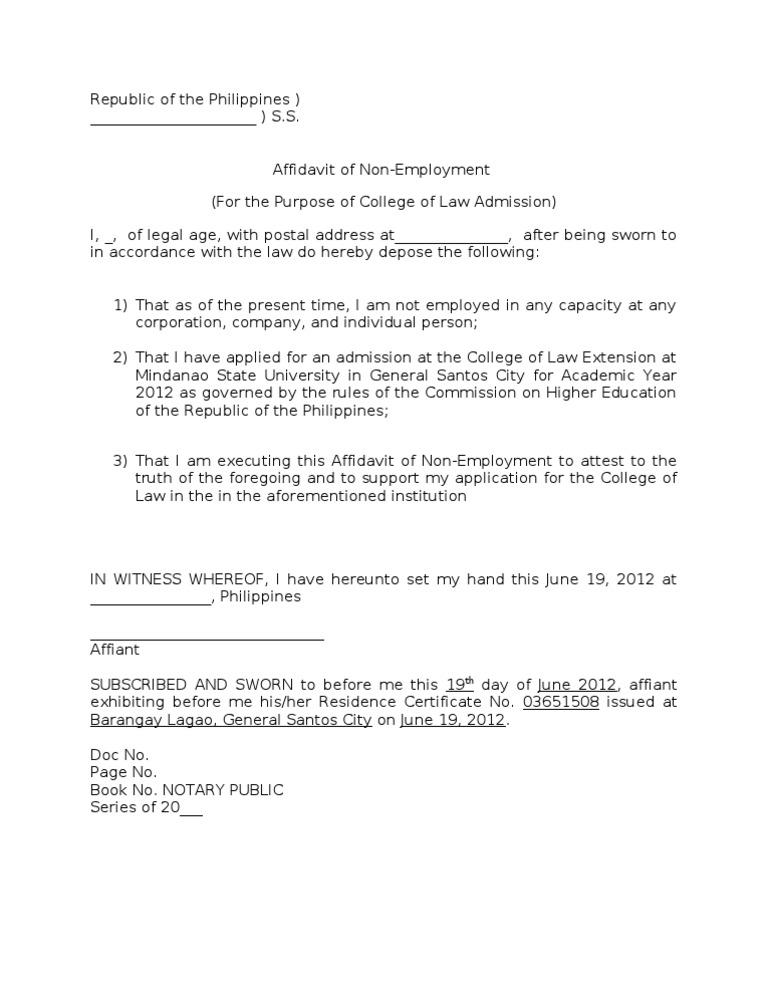 Affidavit on NonEmploymentdoc – Affidavit Template Doc