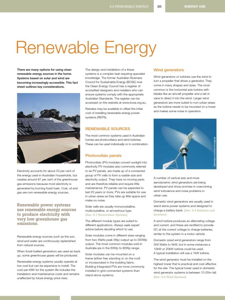 Renewable Energy - 6 6 | Photovoltaics | Wind Power