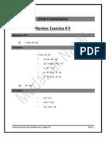 Unit# 5 Factorization Reveiw Exercise 5