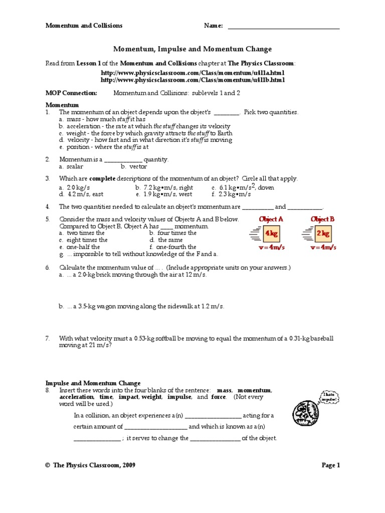 Momentum And Conservation Of Momentum Worksheet Stephen Murray