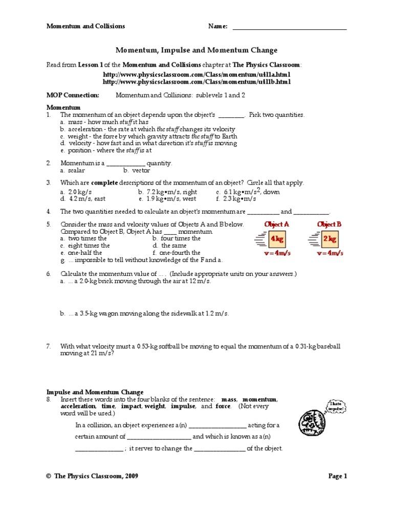 Workbooks stephen murray physics worksheets : Momentum-worksheet & Conservation Momentum Worksheet Free ...