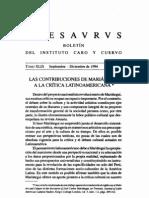 Contribuciones de Mariategui a La Critica Latinoamericana