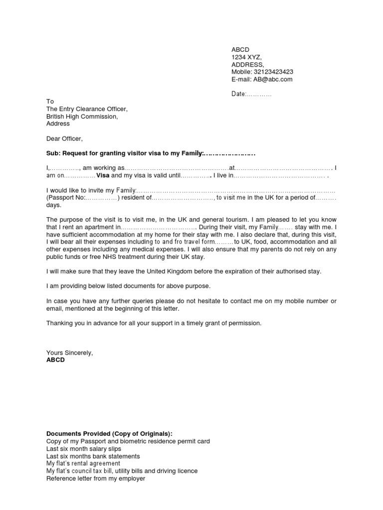immigration sponsorship letter – Sample Letter for Immigration Sponsorship