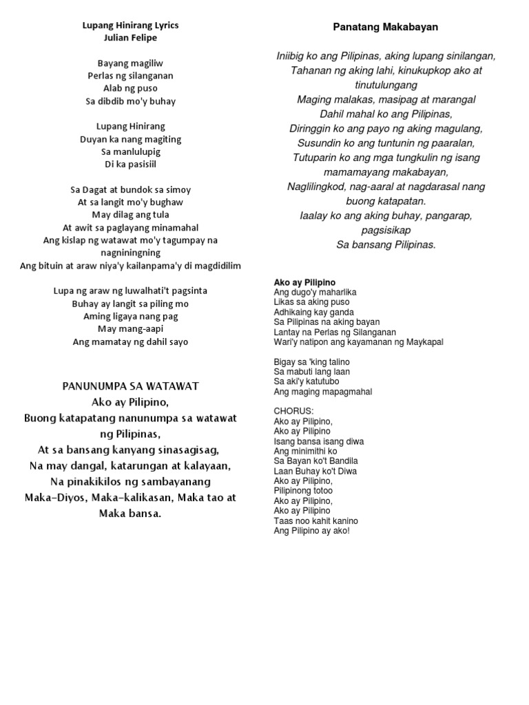 Pilipinas kong mahal lyrics tagalog