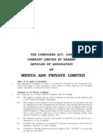 AOA FOrmat    _ Public Limited Company