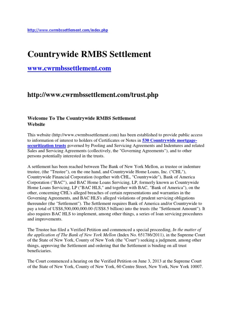 Countrywide rmbs settlement11 mortgage law trust law platinumwayz