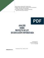 Analisis Sobre El Proyecto de Ley Universitaria