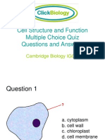 Cell Structure and Function Multiple Choice Quiz Questions and Answers