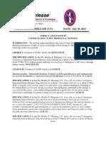 13-31 News Release - PFC Manning Verdict Announced